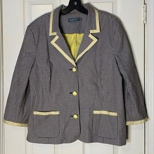Koret Check w. Yellow piping Jacket Blazer Size 16